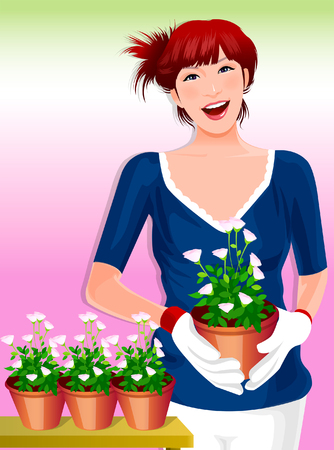 Portrait of a woman holding a potted plant Illustration