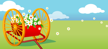 horizon over land: Flower on a cart