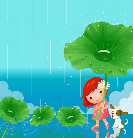 lily pad: Girl holding a lily pad in the rain Illustration