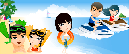 Portrait of a couple riding jet boats in the sea Illustration