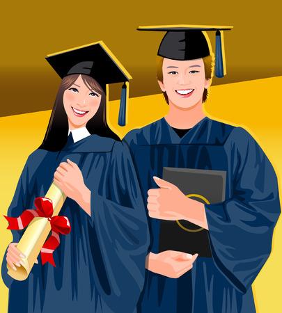 Portrait of a graduate couple smiling Illustration