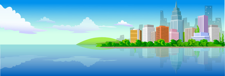 horizon over water: Reflection of buildings in water Illustration