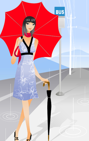 Portrait of a woman standing with two umbrellas at a bus stop