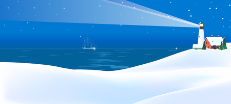 Lighthouse at the coast Illustration