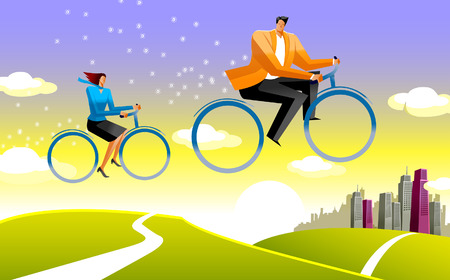 Side profile of a businessman and a businesswoman riding bicycles Illustration