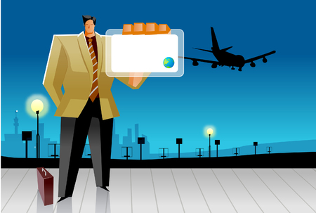 Businessman showing his ID card at an airport Illustration