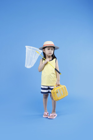 Asian kids go on picnic - Isolated on studio shot