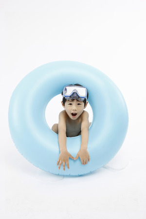 Asian kids with summer concept - Isolated on studio shot