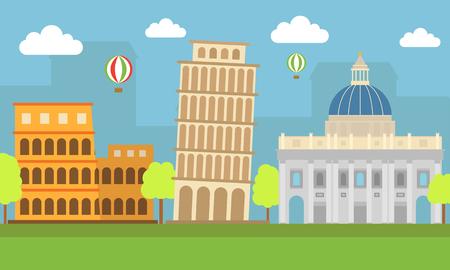 flat illustration, world travel-Italy