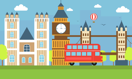 london tower bridge: flat illustration, world travel-England