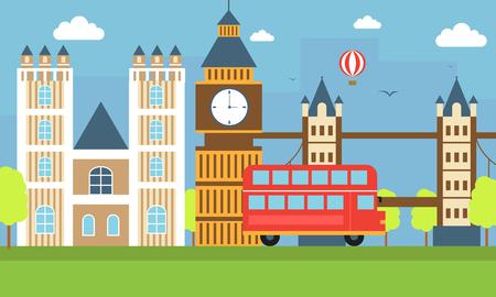 flat illustration, world travel-England