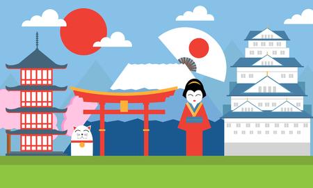 flat illustration, world travel-Japan