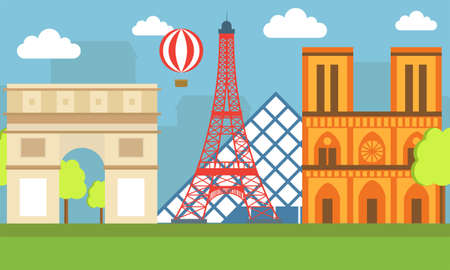 flat illustration, world travel-France