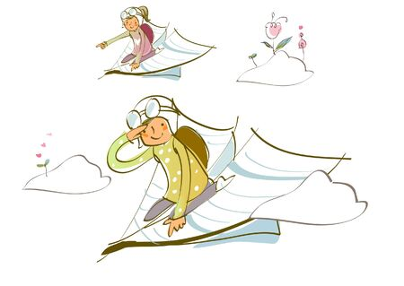 Two women flying on paper airplanes