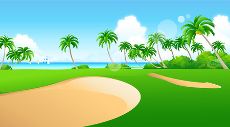 sand trap: Sand traps on a golf course Illustration