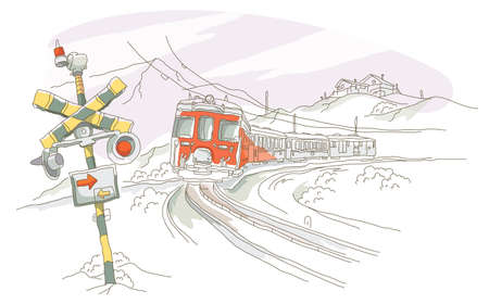 range of motion: Train moving on a railroad track Illustration