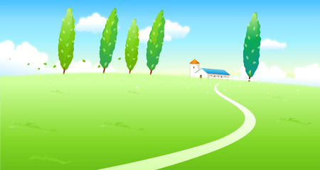 horizon over land: Road passing through a landscape Illustration