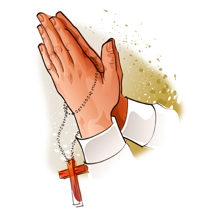 Close-up of a persons hands praying with rosary beads Illustration