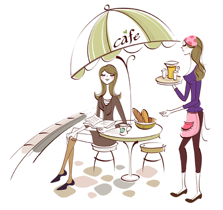 legs crossed: Side profile of a waitress serving food to a woman Illustration