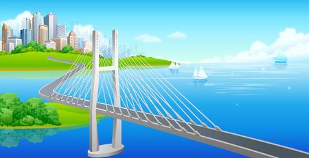 bridge over water: Suspension bridge over a sea