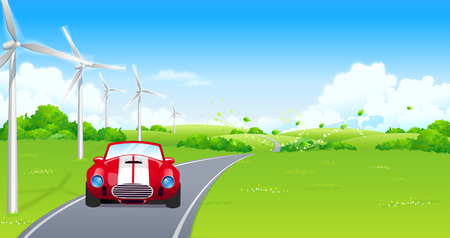 Car moving on the road Illustration