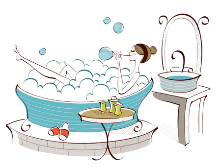 reclining: Side profile of a woman blowing soap suds in a bathtub Illustration