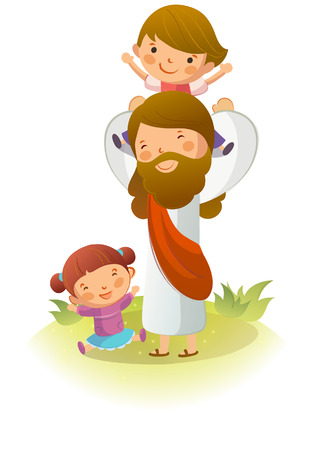 Jesus Christ carrying a boy on his shoulders with a girl sitting on the grass