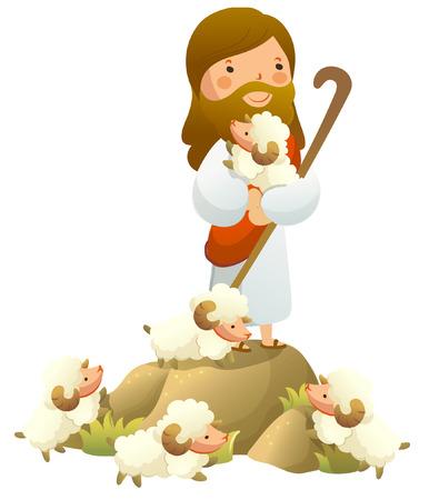 Jesus Christ holding a sheep Imagens - 78587604