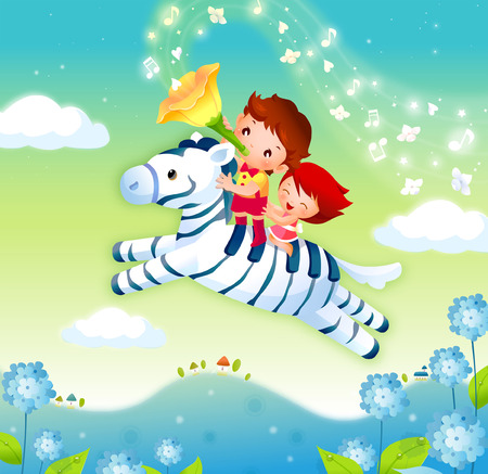 one girl only: Boy and a girl riding a zebra in the sky