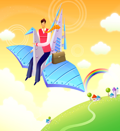 Businessman flying in a paper airplane Illustration