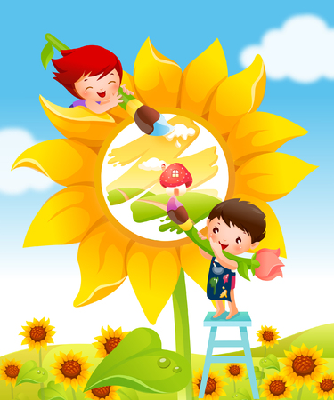 Boy and a girl painting a sunflower