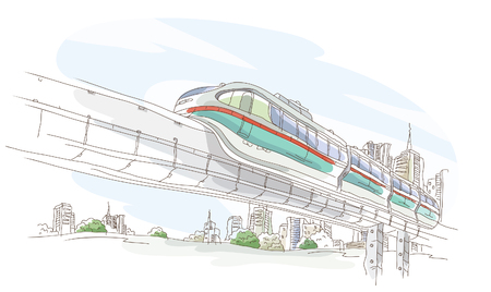 Low angle view of a train moving on a bridge Ilustrace