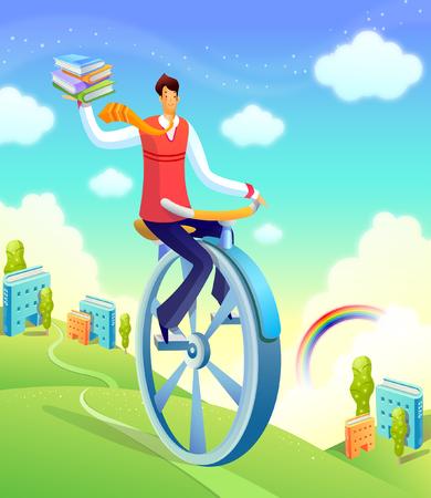 rolling landscape: Businessman on a unicycle Illustration