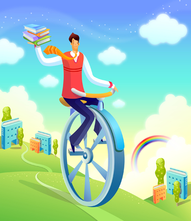 Businessman on a unicycle Illustration