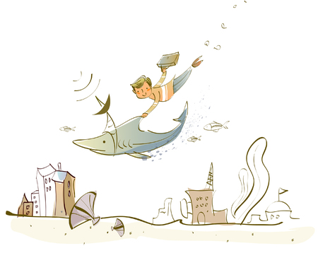 Man flying with a fish over buildings