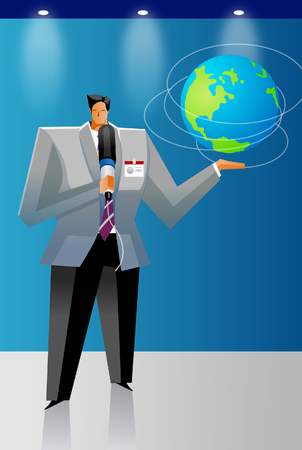 newsreader: Man reading business news Illustration
