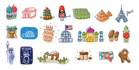 Close-up of international landmarks Ilustrace