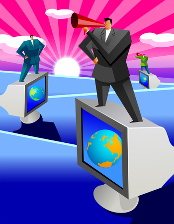 businessman using a megaphone: Three businessmen standing on computer monitors and speaking into bullhorns Illustration