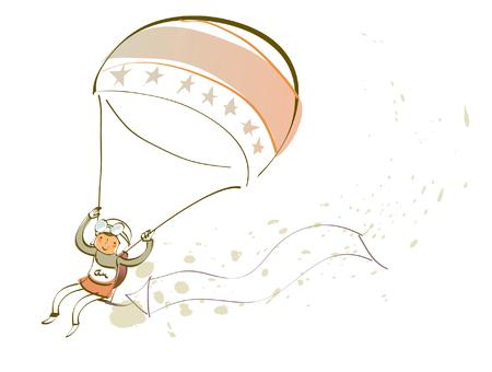 Girl parachuting in the sky Illustration
