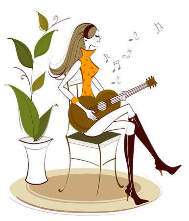 knee sock: Side profile of a woman sitting on a chair and playing a guitar