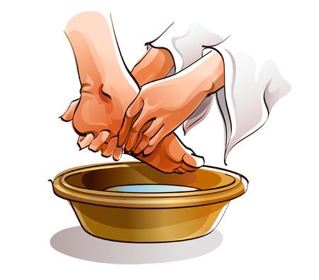 他の人の足を洗う人の手のクローズ アップ  イラスト・ベクター素材