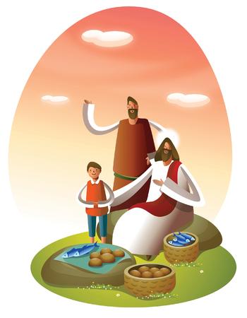男と少年のイエス ・ キリストの近くに立って