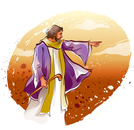 jesus standing: Jesus Christ pointing forward Illustration