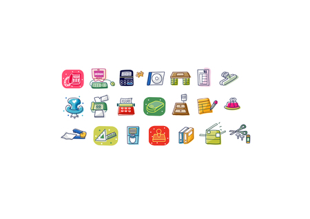 note paper: Close-up of various types of objects Illustration