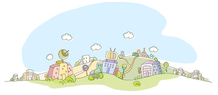 global communication: Buildings in a city Illustration