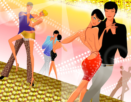 Three couples dancing in a nightclub