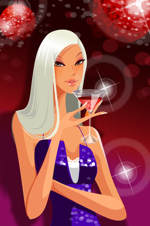 Close-up of a woman holding a champagne flute Illustration