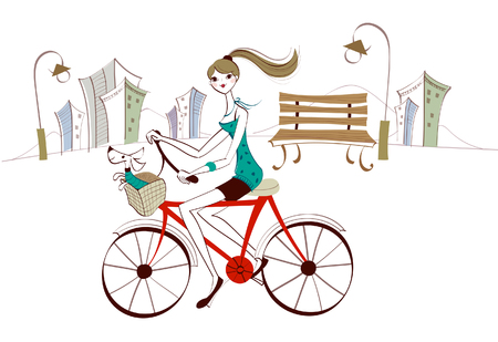 Side profile of a woman riding a bicycle Illustration