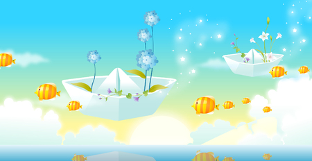 Fish and boats flying Illustration
