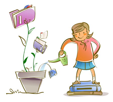 Student Life: Schoolgirl watering a potted plant with a watering can Illustration